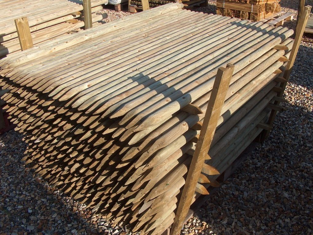stack of wooden stakes